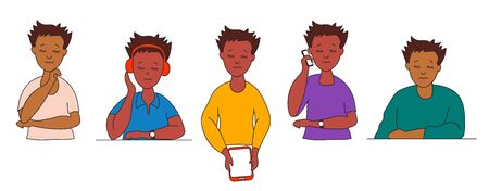Set of cute men of different ethnicities in bright clothes. Various hand gestures. Young man with a phone, headphones and tablet. Asians and with dark skin with eyes closed. Vector drawing Ilustração