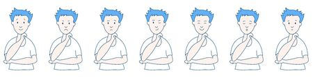 Different emotions and facial expressions. Young guy with a raised hand. Joy, sadness, anger, conversation, funny, fear, smile. Vector illustration flat design. Cartoon.