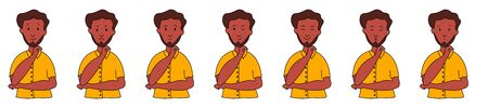 Different emotions and facial expressions. Ethnic man with a beard raised his hand. Joy, sadness, anger, conversation, funny, fear, smile. Vector illustration flat design.