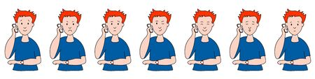 Different emotions. man talking on the phone. Facial expressions. Joy, sadness, anger, conversation, funny, fear, smile. Vector illustration flat design. Cartoon.
