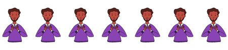 Different emotions and facial expressions. A ethnicity man Dark skin with a beard practices yoga and meditation. Vector illustration flat design. Cartoon. 矢量图片
