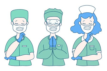 Surgeon, doctor and nurse in medical green clothes and virus protection equipment - mask, glasses and blue gloves. The doctor crossed his arms, closed his eyes, and prayed. Medicine, God and people. Vector illustration