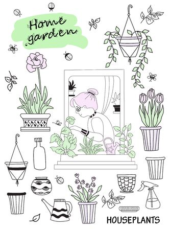 houseplants in modern home and people. Elderly woman in green interior. Set of cute vector doodles - woman in the window with flowerpots and flowers, pots and tools. Hobbies and green house Vektoros illusztráció