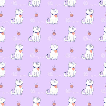 Template. Cute and funny cat with a heart and a striped tail, a ball of thread and knitting needles on a light purple background. Seamless pattern with burgundy contour on a pink background.