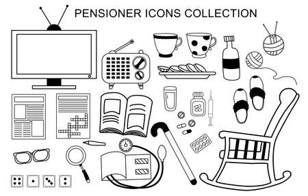 Vector set of icons an elderly man. Life and activities for a pensioner - a newspaper and a crossword puzzle, domino games and medicine. Isolated outline  イラスト・ベクター素材