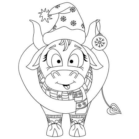 Cute bull. Chinese new year 2021 year of the ox. A bull in Christmas clothes, a hat and a ball on his ear. Black outline vector drawing. Reklamní fotografie - 151097189