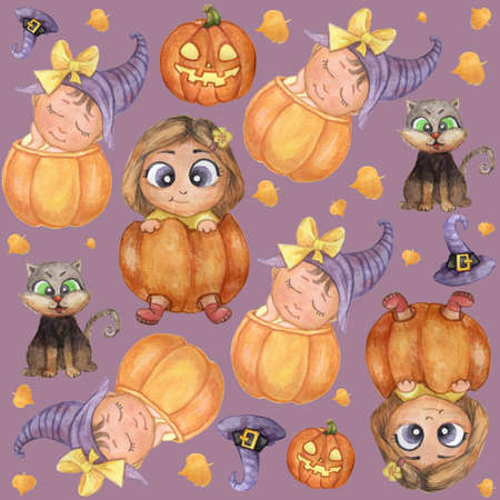 Halloween holiday. Seamless pattern. Cute illustrations - cute kids in an orange pumpkin, a hurrying baby in a hat, a black cat, a pumpkin, a purple witch hat, Jack Flashlight. Watercolor 免版税图像 - 151097200