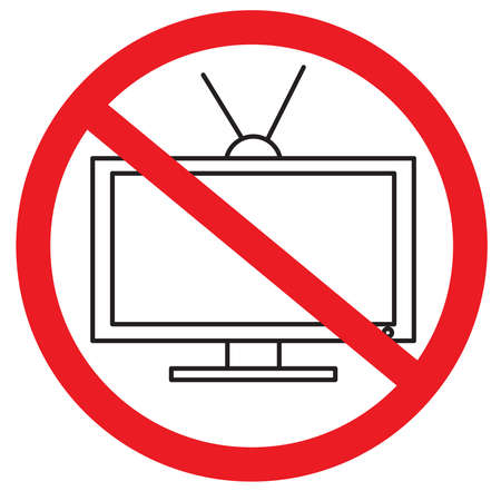 Prohibition sign. TV is prohibited. Black outline drawing. Red circle. Vector illustration