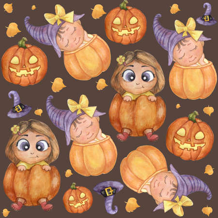 Halloween Seamless pattern. Cute illustrations - children in an orange pumpkin, a hurrying child in a witch hat, Jack pumpkin and a flashlight. Watercolor. High quality photo