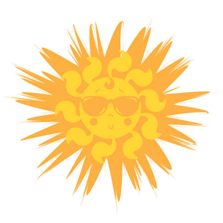 Cute Sun. Style the sun in sunglasses. Yellow-orange sun with a smile and glasses. Icon Vector illustration. Isolated on white background.
