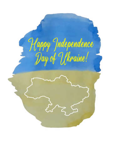 Watercolor. Yellow-blue. Flag and outline map of Ukraine. Congratulations in english - Happy Independence Day of Ukraine. Concept for Independence Day poster, flyer, banner. illustration