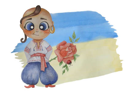 kids watercolor illustrations. A cute Ukrainian boy with an earring in his ear and National clothes, vyshyvanka with a rose against the background of the yellow-blue flag. Watercolor stain for text