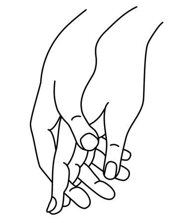 Female and male hand. Concept - tenderness, love and passion. Woman and man holding hands. Linear hand drawing. Vector. Isolated on white. men and women hands.