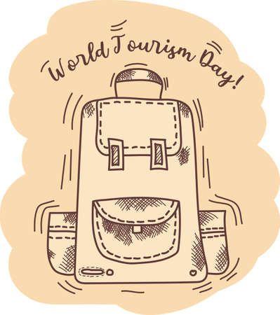 World Tourism Day. Tourist backpack and text of congratulations on the holiday on a beige background. Vector. Hand drawing hatch and line, vintage.