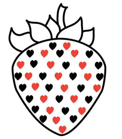 Playful, erotic strawberry. Black line with red and black hearts. Contour drawing on a white background. Vector