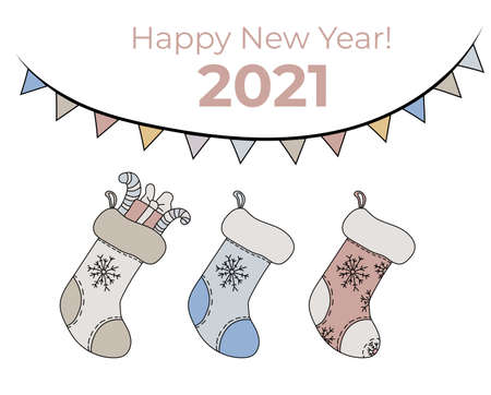 New year vector set. Christmas socks with gifts, New Year decoration and congratulations 2021. Vector isolated on white background