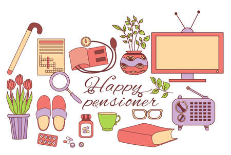 Colored set of happy pensioner icons. The elderly persons items are a crossword puzzle and a television and radio technique, medicine pills. International Day of Older Persons.