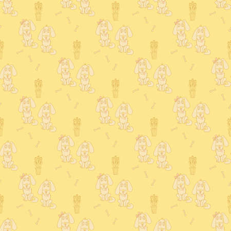 Seamless pattern with cute pets. A pair of dogs with protruding tongue and hearts on a collar and a flowers - a boy and a girl on a yellow background. line. For design, packaging, decoration
