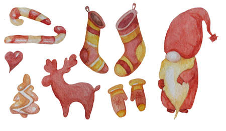 Set of New Years elements. A fabulous old gnome, a deer, Christmas stockings and mittens, gingerbread and a heart. For Christmas and New Years - design and decoration. Watercolor On a white background 免版税图像