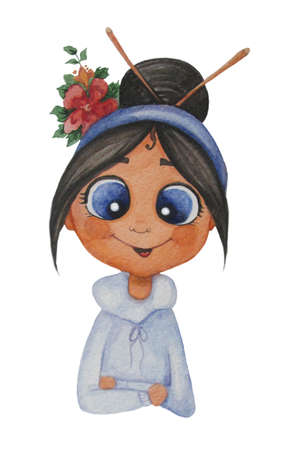 Cute girl illustration. Portrait of a brunette with a haircut with knitting needles and red flowers. Watercolor illustration. Hand drawing on a white background. For childrens design and festive decor 免版税图像