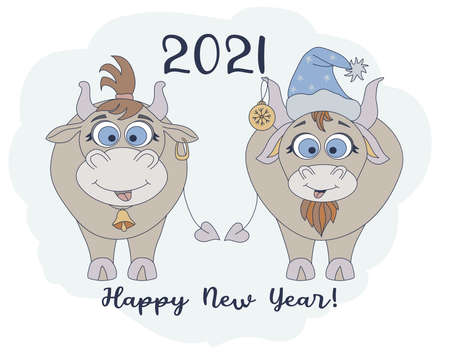Year of the bull. 2021. Funny characters a cute bull in a New Years hat and a funny cow with a haircut. New Year card and Happy New Year greetings. For festive design and decoration. Vector