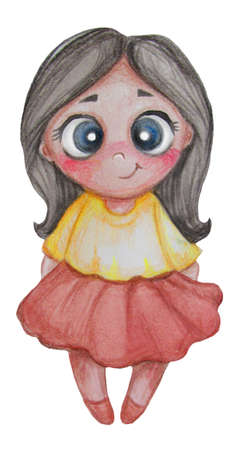 Childrens collection. Cute little brunette girl in a red skirt. Watercolors and colored pencils. Hand drawing. Isolated over white background. High quality photo