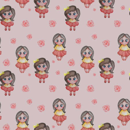 Seamless patterns. Lovely kids. Girls in red skirts on a pink background with roses. Hand drawing. Watercolor. Childrens collection for design, textiles and decoration
