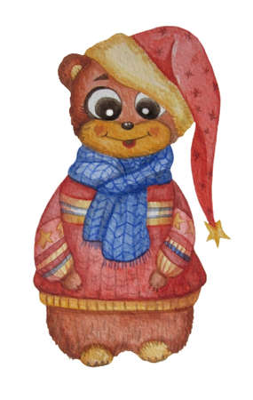 Cute and funny bear in a hat, scarf and sweater. Watercolor. Childrens collection. For New Years design and decoration