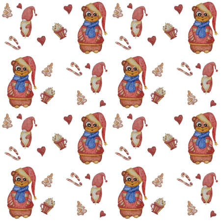 Seamless patterns. A cute bear in a scarf and sweater and a New Years hat on a white background with decorative elements - gingerbread, caramel and magic gnome. For design and decoration. Watercolor 免版税图像