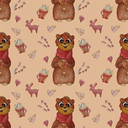 Seamless patterns. Cute bear with a scarf and a mug in his paws and with decorative elements for New Year - deer and gingerbread, caramel sweets and dessert on a pink background. Watercolor.