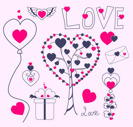 love doodle. Hand vector illustration Love and Valentines Day. decorative elements hearts and love tree, balloon, flowers with hearts. For festive decoration and romantic design. Isolated elements