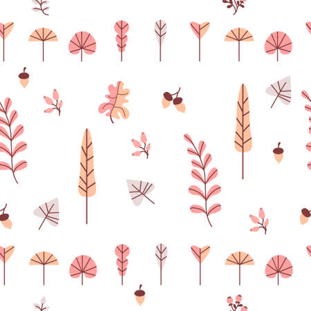 Autumn Seamless pattern. Decorative autumn leaves, branches, berries and acorns on a white background. For autumn decoration and design, packaging and printing. Vector 矢量图像