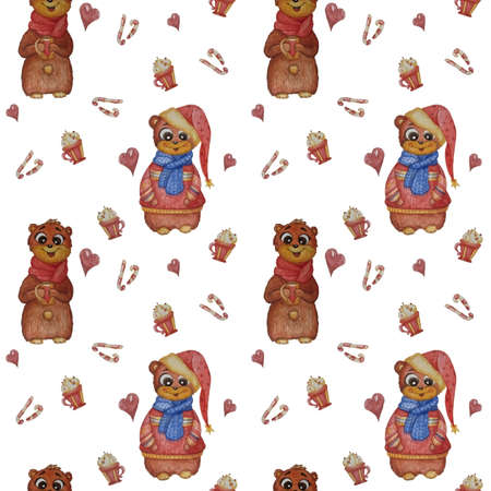 Seamless patterns. Lovely animals. A bear with a scarf and a mug in his paws and a bear in Christmas clothes on a white background with sweets, sweets and hearts. Childrens collection. Watercolor