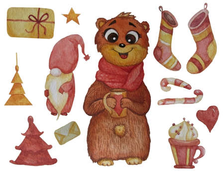 Set of New Years drawings. Watercolor. Cute teddy bear in a scarf and with a mug in its paws, a magic gnome and Christmas stockings, a cup with dessert and caramel, a gift and a Christmas tree. 免版税图像