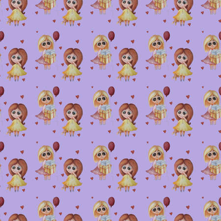 Seamless pattern. kids collection. little girls with of gifts and a balloon and in a yellow dress with a toy hare on purple background with scarlet hearts . Watercolor. For design, textiles and decor