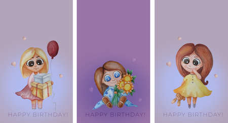 collection of kids congratulations cards. cute girls - with a bouquet of sunflowers, gifts and a balloon and a toy hare on a pink-purple background. Festive greeting text - happy birthday. Watercolor