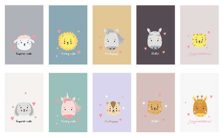 Set of cute animal faces. Creative animal print cheetah and lion, tiger and sheep, horse and unicorn, hare and cat, giraffe and zebra with lettering. Vector. Scandinavian design and print on clothes