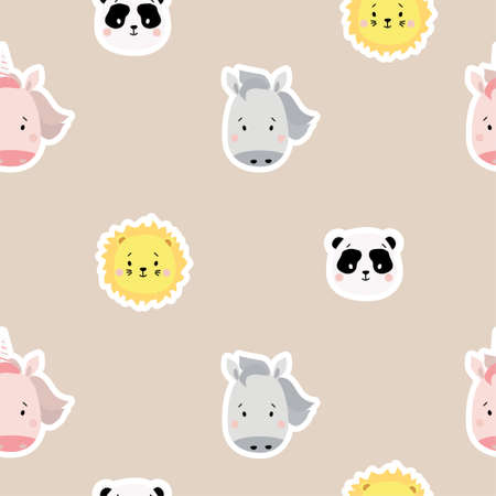 Seamless patterns. Childrens collection. Cute animal stickers - panda and horse, lion and pink unicorn on a gentle lilac background. For design, textiles, packaging and wallpaper. Vector 矢量图像