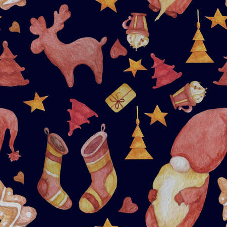 Seamless patterns. Magic and cute gnome. Decorative elements for Christmas and New Year - deer and fir-trees, staples and a cup of sweets on a dark background. For design and decoration. Watercolor 免版税图像