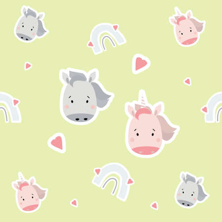 Seamless patterns. Scandinavian style kids collection. Cute stickers unicorn girl and horse boy and rainbow with hearts on a light background. For design, textile, packaging, wallpaper. Vector