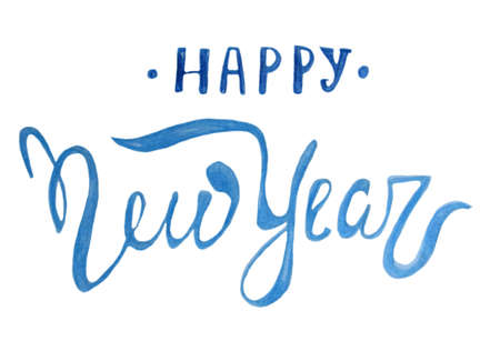 Lettering - Happy New Year. Christmas greetings. The inscription is decorative blue letters. Colour pencils. Hand drawing. Isolated on white.