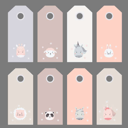 gift tags. Set of cute animal portraits - zebra, unicorn and hare, lion and panda, giraffe and sheep. Vector illustration. Scandinavian style. For the design, design and printing. Childrens collection