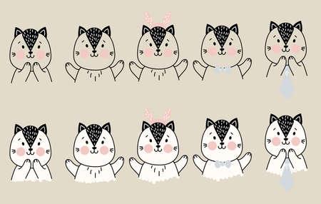Set of cute simple pets. A cat with different gestures of delight and joy, and items of festive decor - Christmas deer antlers, a tie and bow tie. outline. For childrens decor and printing. Vector Illusztráció