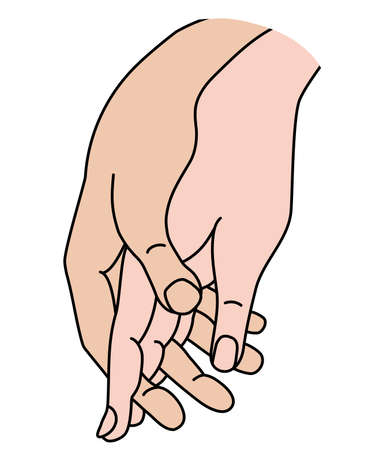 Female and male hand. Concept - tenderness, love and passion. Woman and man holding hands. Linear color hand drawing. Vector. Isolated on white. men and women hands.