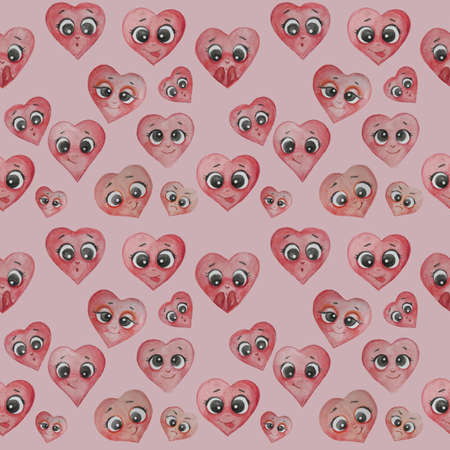 Heart seamless pattern. Cute different hearts with faces, hands and emotions - happiness, surprise, bliss, playfulness - on a pink background. Watercolor. For design and decor, holiday design 写真素材