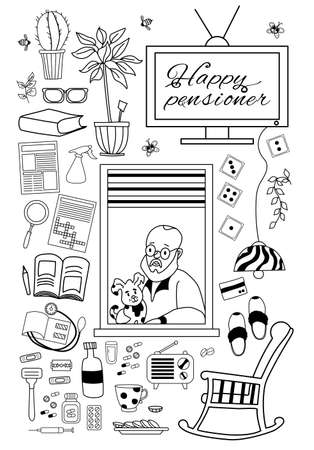 Elderly man. grandparents day. Happy elderly man in the window of an apartment with a dog and things for a cozy retirement life. Chair, slippers, dominoes and medicines and crosswords. Set of vector