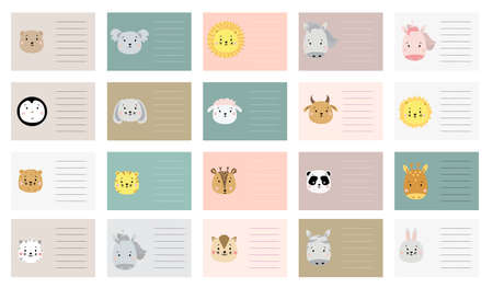 kids planner with cute animals. Card templates. gift tags set. Creative print with lion and unicorn, giraffe and panda, koala, horse and bear, deer and penguin, sheep, dog, cat and zebra, hare. Vector