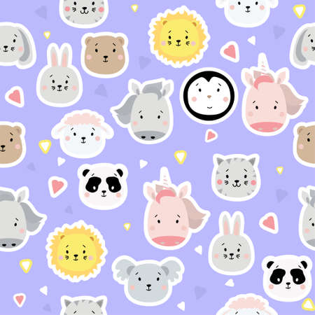 Seamless patterns. Kids collection. Cute animal stickers - bear, lion and penguin, unicorn and rabbit, hare and sheep, cat, horse, koala and panda on a blue background with hearts. Vector illustration 矢量图像