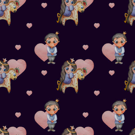 Cute kids collection. Seamless pattern. Little girl princess with a long braid and a bow on a unicorn and a prince on a dark blue background with hearts. Watercolor. for packaging, wallpaper, textile