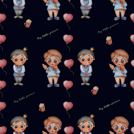 Seamless patterns. My little prince. Boy with a crown and a sweet tooth boy with sweets and ice cream on a blue background with balloons and sweets. Children's collection. Watercolor. Hand drawing